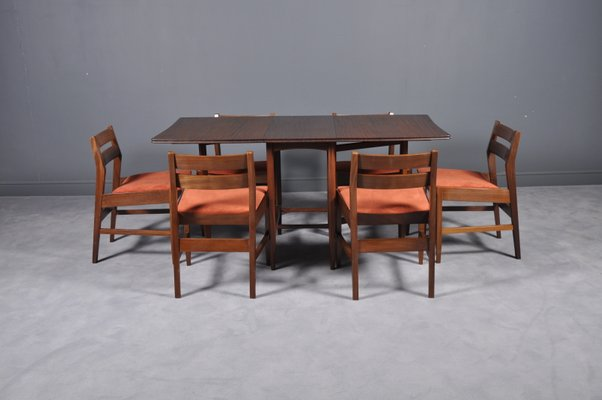 Mid Century Extendable Dining Table And 6 Chairs 1960s