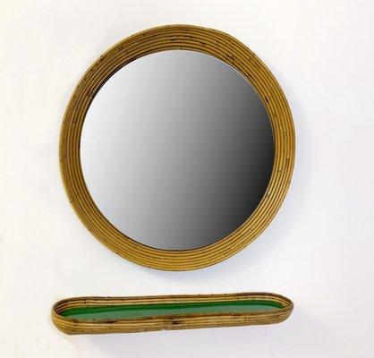 Specchio vintage in vimini con mensola in vendita su Pamono