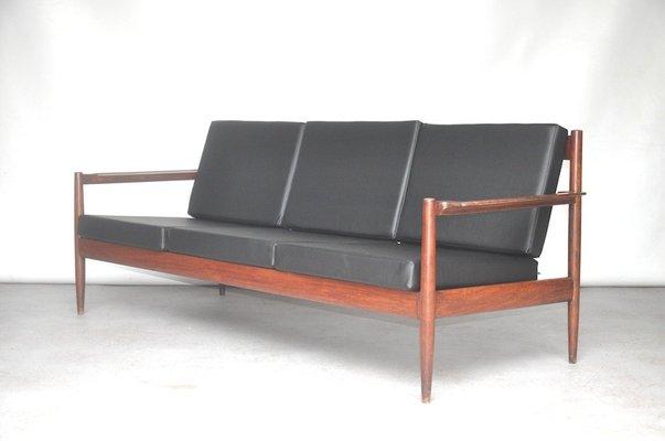 Black Vinyl Rosewood Sofa 1960s For