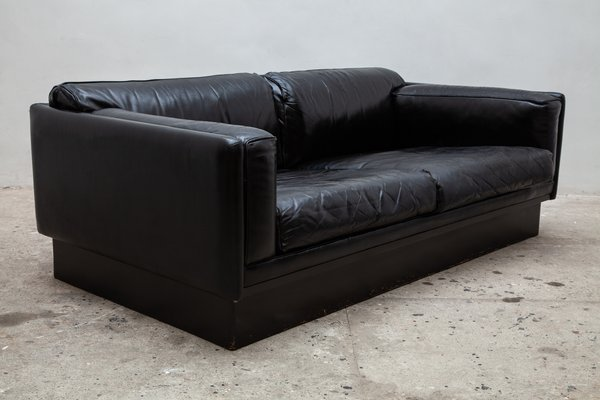 Black Leather Couch from Durlet, 1970s