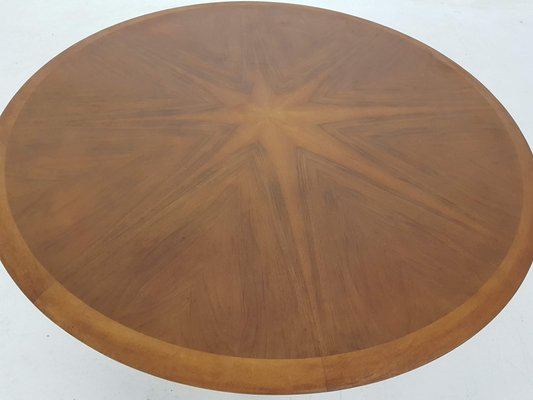 Large Round Coffee Table With Wooden Inlay By N O Moller 1960s For Sale At Pamono