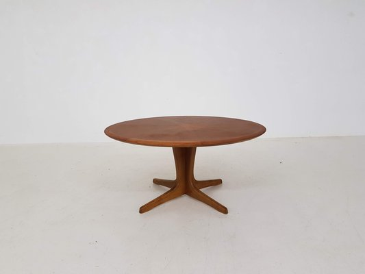 Large Round Coffee Table With Wooden Inlay By N O Møller 1960s