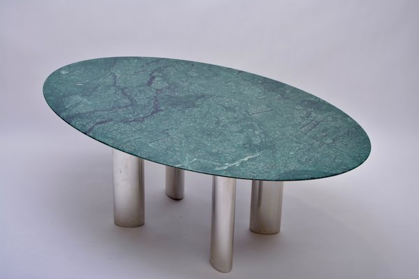 Table en Chromé1980s de Grande Verten à Marbre Salle Manger Métal QrCoxeWdBE