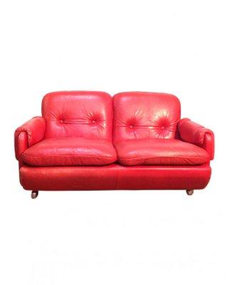 Ikea Divani In Pelle.Divano Lombardia In Pelle Rossa Di Risto Halme Per Ikea Anni 70