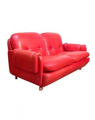 Sofa Cuero Ikea.Sofa Lombardia De Cuero Rojo De Risto Halme Para Ikea Anos 70