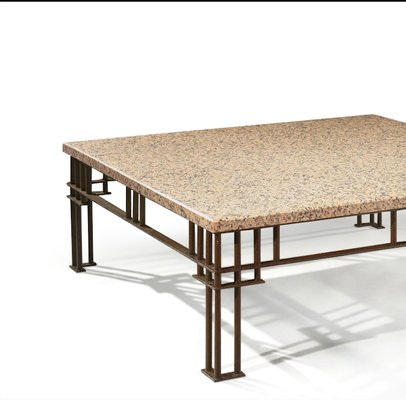 Postmodern French Granite U0026 Wrought Iron Coffee Table By Jean Michel  Wilmotte, ...