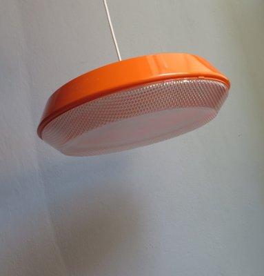 Large Vintage Orange Pendant Lamp with Textured Plastic Diffuser
