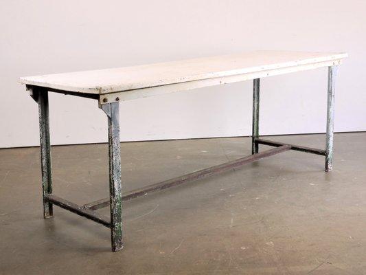 Table De Salle A Manger Industrielle Rectangulaire En Metal Blanc 1960s