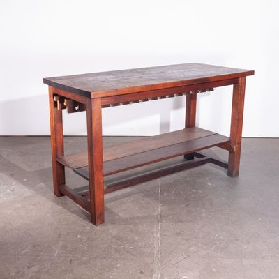 Isla de cocina o mesa de trabajo alta con tablero de iroko macizo ...