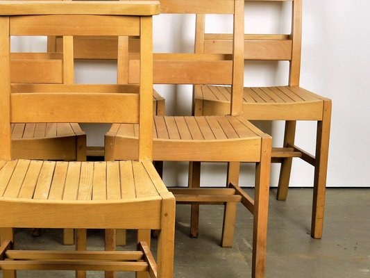 Beech Chapel Chairs From M Levin 1960s Set Of 6 For Sale At Pamono