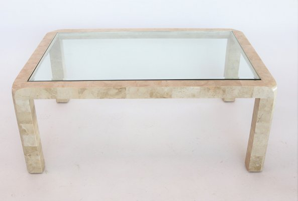 Italian Glass Coffee Table.Italian Travertine Marble Brass Glass Coffee Table 1970s