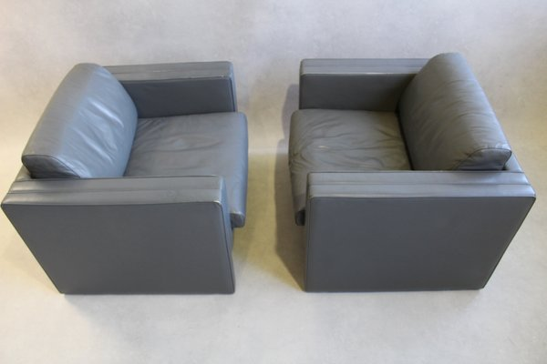 Walter Knoll Design Fauteuil.Grey Leather Armchairs By Jurgen Lange For Walter Knoll 1980s