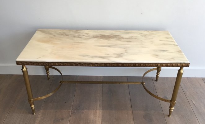 Marble Top Brass Coffee Table.Mid Century Brass Coffee Table With White Marble Top