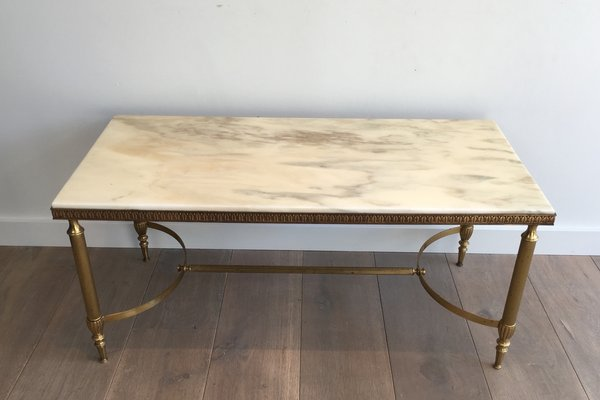 Mid Century Br Coffee Table With White Marble Top