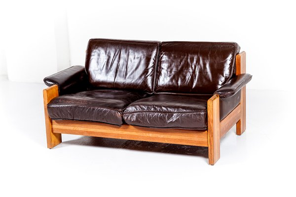 Vintage Oak & Leather 2-Seater Sofas from Leolux, 1970s, Set of 2