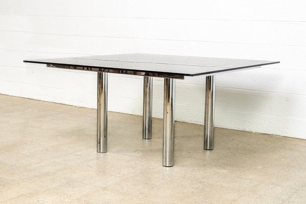 Square Mid Century Andre Glass Chrome Dining Table By Tobia Scarpa