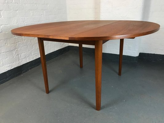 Mid Century Danish Oval Extendable Dining Table 1960s