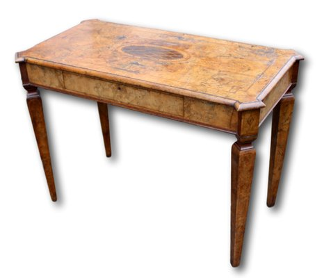 Groovy Antique Italian Walnut Table With Inlay And Single Drawer Machost Co Dining Chair Design Ideas Machostcouk