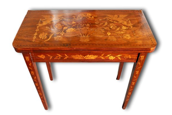 Remarkable Antique Dutch Marquetry Inlaid Card Table With Green Baize Machost Co Dining Chair Design Ideas Machostcouk