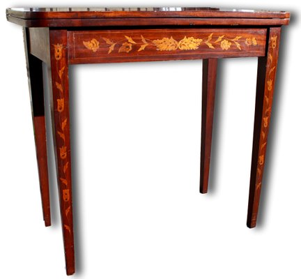 Groovy Antique Dutch Marquetry Inlaid Card Table With Green Baize Machost Co Dining Chair Design Ideas Machostcouk