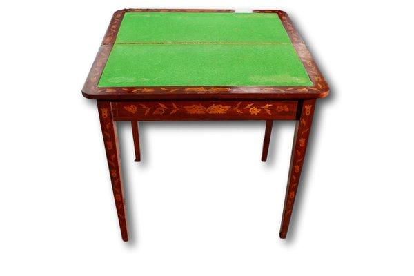 Tavolino Da Gioco Antico.Tavolo Da Gioco Antico Intarsiato Con Panno Verde Paesi Bassi