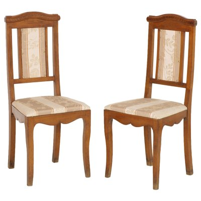 Antique Art Nouveau Walnut Side Chairs Set Of 2 For Sale At Pamono