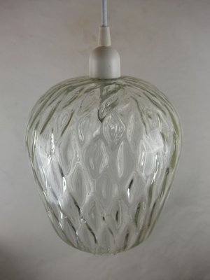 Beau Vintage Clear Glass Pendant Lamp By Paolo Venini