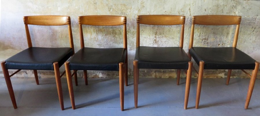 Rosewood U0026 Teak Chairs With Black Leather By H.W. Klein For Bramin, 1960s,  Set Of 4