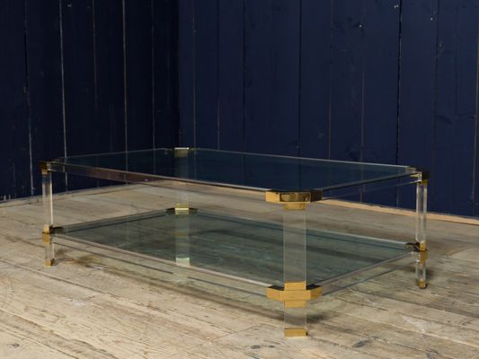 Vintage Brass And Acrylic Coffee Table