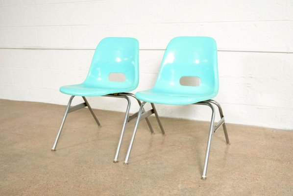 Bon Teal Fiberglass Shell Childrenu0027s Chair From Krueger Metal Products, 1960s