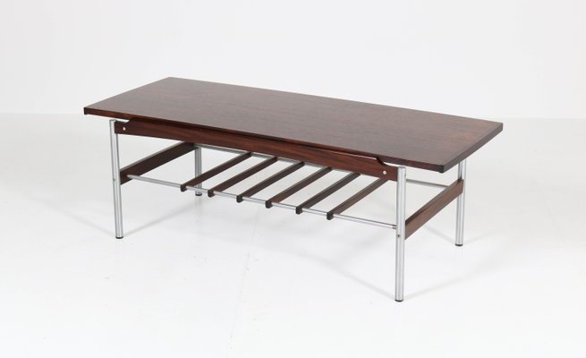 Mid Century Modern Rosewood And Chrome Coffee Table For Sale At Pamono
