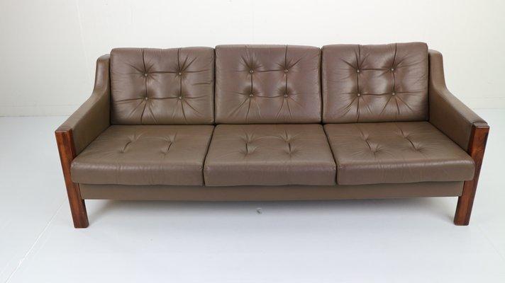Scandinavian Rosewood & Leather Sofa, 1970s