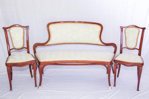 Antique Living Room Set by Gustav Siegel for J&J Kohn, 1900s for ...