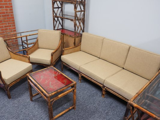 Mid Century Bamboo Rattan And Cane Living Room Set For Sale At Pamono
