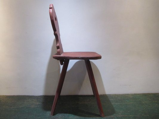 Antique Alpine Painted Pine Chairs Set