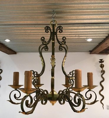 Wrought Iron Chandelier 1920s