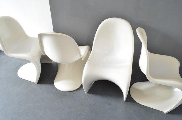 Sedie Bianche Design : Sedie bianche di verner panton per hermann miller 1974 set di 4 in