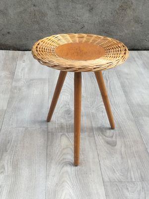 Rattan Tripod Coffee Or End Table, 1960s
