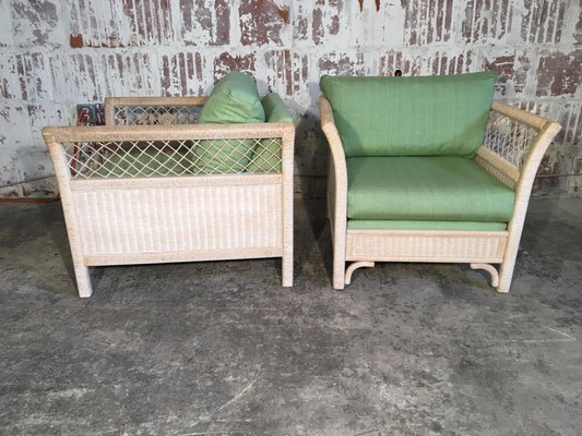 Wicker Tuxedo Chairs By Henry Link For Lexington 1980s Set Of 2