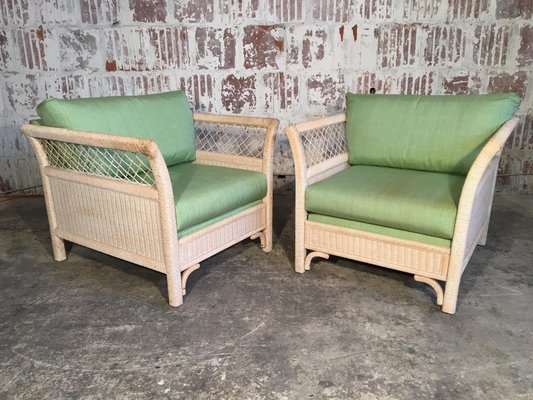 Wicker Tuxedo Chairs By Henry Link For Lexington 1980s Set Of 2 1