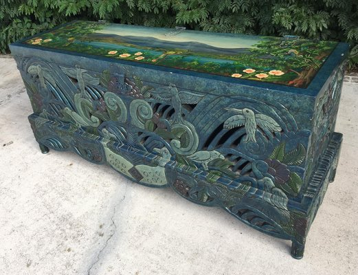 Astounding Vintage Hand Painted Carved Wooden Trunk Evergreenethics Interior Chair Design Evergreenethicsorg