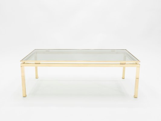 Glass Brass Coffee Table By Guy Lefevre For Maison Jansen 1970s
