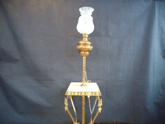 Antique Brass Floor Lamp With Onyx Pedestal For Sale At Pamono