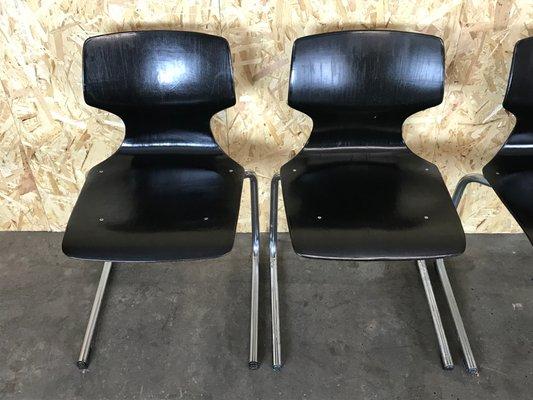 Freischwingende Stühle Chrom4er Vintage Aus Schichtholzamp; Set bf6g7y