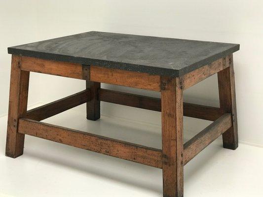 Table Industrielle En Bois Avec Plateau En Pierre Bleue 1960s