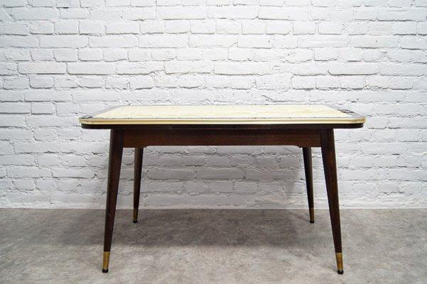 Ripiano In Vetro Per Tavolo.Tavolo Da Pranzo Vintage Regolabile Con Ripiano In Vetro Decorato