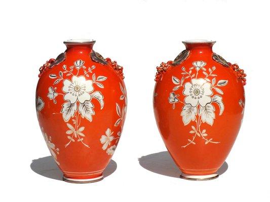 Vasi in ceramica arancione di deruta anni set di in