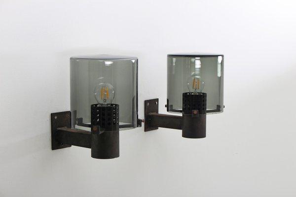 Plafoniere Da Parete Da Esterno : Lampade da parete esterno vintage in vetro e metallo set di 2