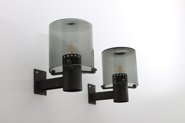 Lampade da parete da esterno vintage in vetro e metallo set di