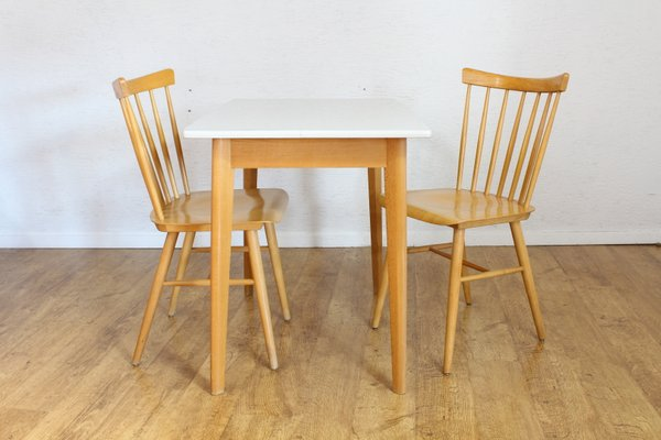 Vintage Scandinavian Dining Table 2 Chairs 1970s